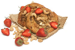 Cashew nut  Danish pastry with fresh strawberry Stock Photos