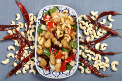 Cashew nut fried with chilly and vegetable herb Stock Image