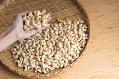 Cashew Nut on Hand selective focus. Cashew Nut on Hands selective focus Stock Photos