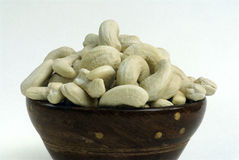 Cashew nut kernels-dry fruit-in a bowl-white background Stock Photo