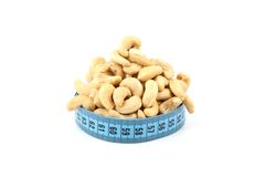 Cashew (nut) and meter Royalty Free Stock Images