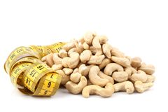 Cashew (nut) and meter Stock Photo
