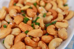 Cashew nut in thai food stock image