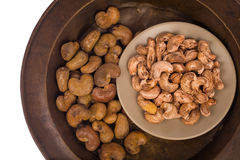 Cashew nuts in basket on white background Stock Photography