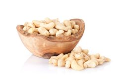 Cashew nuts. In bowl. Isolated on white background royalty free stock images