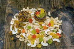 Cashew nuts and candied fruits Stock Photography