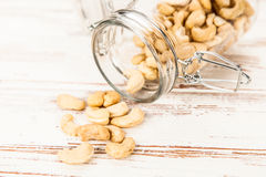 Cashew nuts closeup photo Royalty Free Stock Images