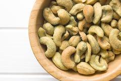 Cashew nuts coated wasabi Stock Image