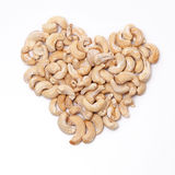 Cashew Nuts Division of Heart isolated on white Stock Photography