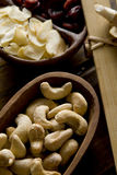 Cashew nuts and garlic royalty free stock photos