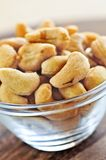 Cashew nuts in glass bowl Royalty Free Stock Photos
