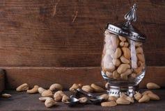 Cashew nuts. In a glass vessel, closeup Stock Image
