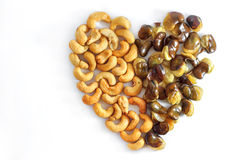 Cashew nuts. On a heart Stock Photography