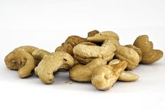 Cashew nuts isolated on the white Royalty Free Stock Photos