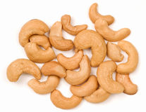 Cashew Nuts On White Background Royalty Free Stock Images
