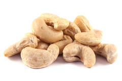 Cashew nuts  on white background. Royalty Free Stock Photography