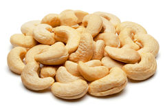 Cashew nuts  on white. Royalty Free Stock Photography