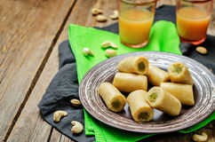 Cashew Pistachio roll. Kaju pista roll. Indian sweets Royalty Free Stock Photos