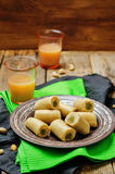 Cashew Pistachio roll. Kaju pista roll. Indian sweets Stock Image
