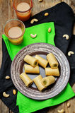 Cashew Pistachio roll. Kaju pista roll. Indian sweets Stock Photos