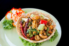 Cashew spicy salad. On top view Royalty Free Stock Photography