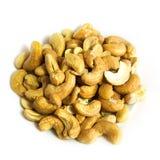 Cashews. Background food fresh roasted white isolated cashew cashews Royalty Free Stock Photos