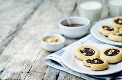 Cashews butter cookies with cashews and chocolate frosting Stock Photos
