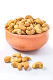 Cashews nut. In bowl on white background royalty free stock photo