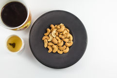 Cashews Nut with Tea and Coffee Royalty Free Stock Photo