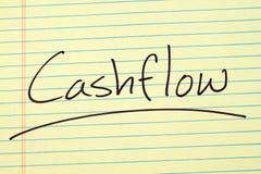 Cashflow auf einem gelben Kanzleibogenblock Lizenzfreie Stockfotos