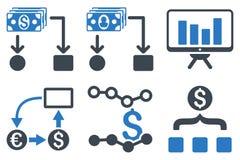 Cashflowdiagram sänker skårasymboler Arkivbild