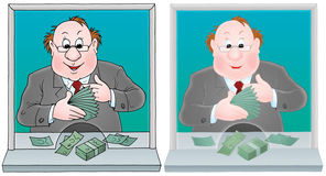 Cashier. Isolated clipart illustration of a paymaster counting cash in a payment office (2 versions of the drawing with black and color contours vector illustration