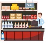 Cashier behind the cashier counter in the interior supermarket, shop, store, shelves food products, goods. Vector. Cashier behind the cashier counter in the stock illustration