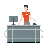 Cashier behind the store counter illustration. Cashier behind the store counter and cash register. Flat design. Smiling woman in uniform standing near cash with Stock Photos