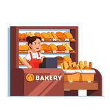 Cashier at bread bakery store at checkout counter. Local business owner working as cashier clerk at her bread bakery store at checkout counter desk. Showcase vector illustration