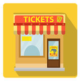 Cashier building with tickets to the circus icon flat style with long shadows,  on white background. Vector Royalty Free Stock Photos