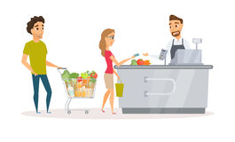 Cashier and buyers. Cashier in the apron and buyer pays purchase. Cash register desk or checkout counter at grocery store. Credit card payment. Interior and Stock Photos