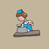 Cashier. Cartoon drawing character Royalty Free Stock Photo