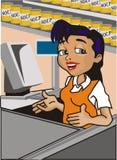 Cashier. Cartoon illustration of a female cashier inside a store Stock Image