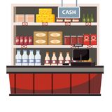 Cashier counter in the interior supermarket, shop, store, shelves food products, goods. Vector, illustration, cartoon. Cashier counter in the interior vector illustration