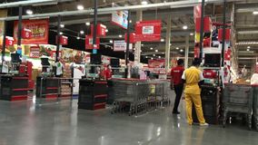 Cashier Counter of Makro supermarket. stock video footage