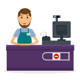 Cashier at the counter. Male cashier at workplace in flat style. Smiling man at the cashier`s desk vector illustration Stock Photography