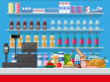 Cashier counter workplace. Supermarket interior. Supermarket interior. Cashier counter workplace. Food and drinks. Shelves with products. Cash register, pos vector illustration