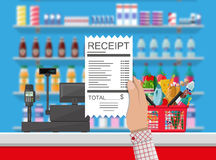 Cashier counter workplace. Supermarket interior Royalty Free Stock Images
