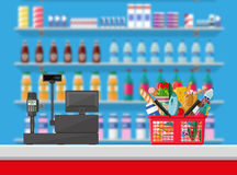 Cashier counter workplace. Supermarket interior Stock Image