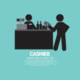 Cashier With Customer Graphic Symbol. Vector Illustration Stock Image