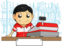 Cashier Employee with Friendly Smile. A vector image of a male cashier employee standing behind the cashier machine. Drawn in cartoon style, this vector is very Royalty Free Stock Image