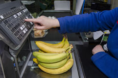 The cashier in a grocery supermarket Stock Images