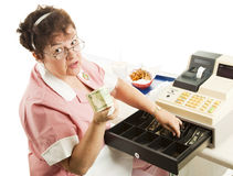 Cashier - Heres Your Change Royalty Free Stock Image