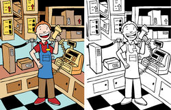 Cashier Man. Cashier ready to scan item at store - color and black/white versions Stock Image